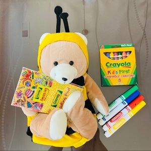 Bumble bee stuffed animal with crayons